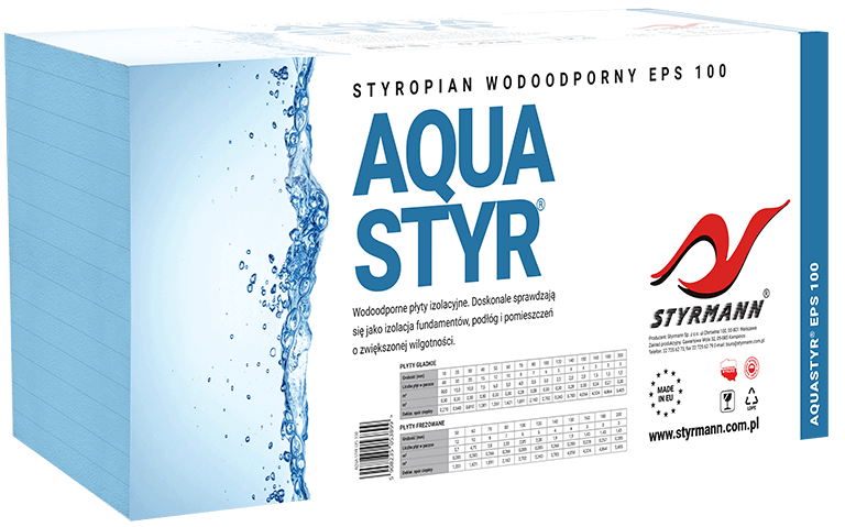 Water-resistant insolating boards AQUASTYR ® EPS 100, EPS 150 and EPS 200